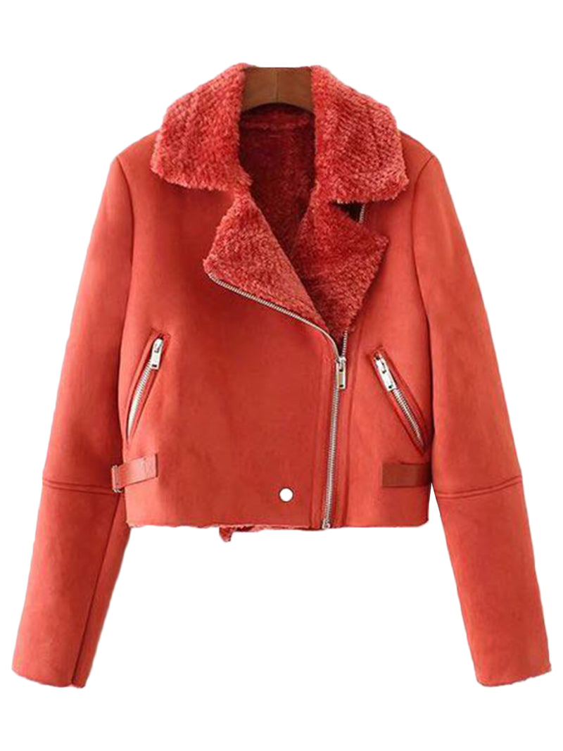 'Regina' Faux Suede Aviator Jacket (2 Colors)
