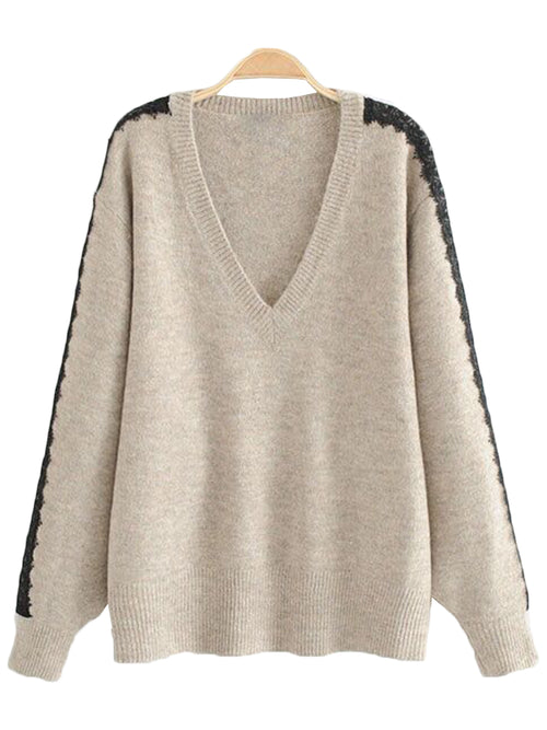 'Lynne' Lace Pleated Sleeve Sweater (2 Colors)