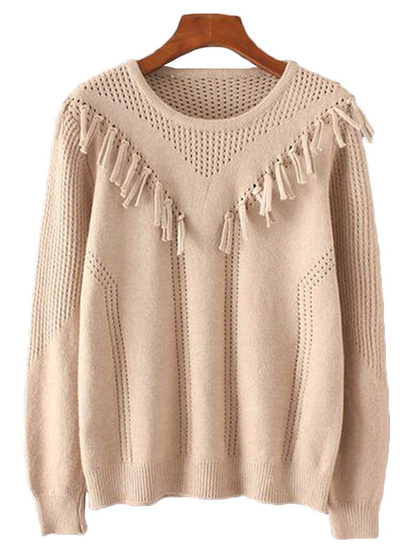 'Kayleigh' Tassel Eyelet Sweater (4 Colors)