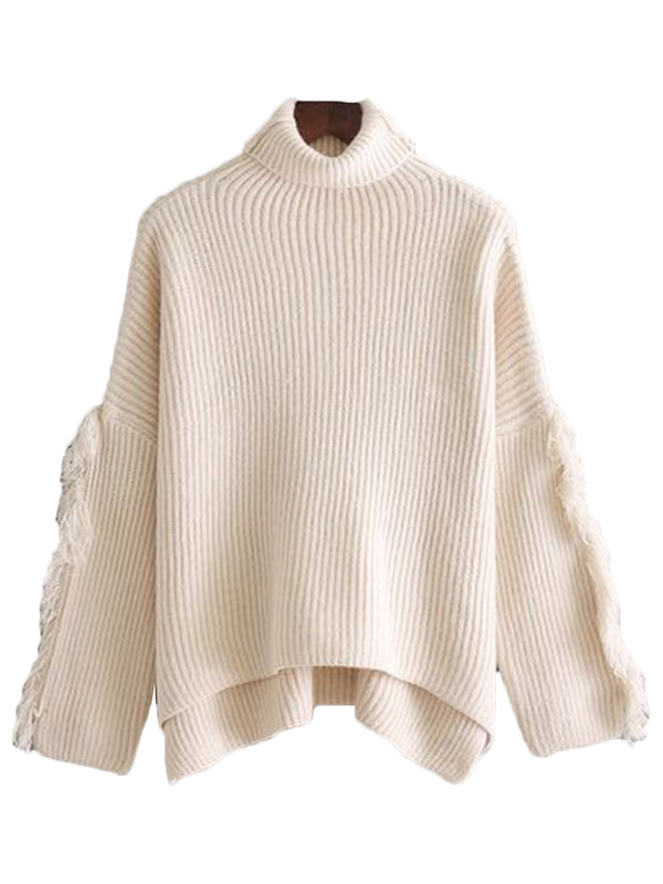 'Lara' Fringe Sleeve Turtleneck Sweater (3 Colors)