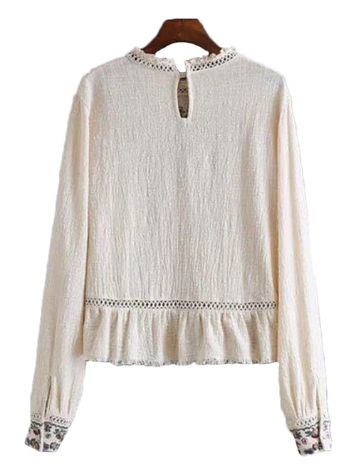'Georgina' Cream Embroidered Top