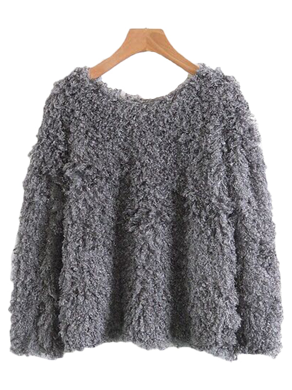 'Holly' Grey Soft Fuzzy Sweater