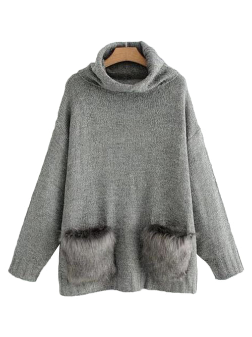 'Joel' Turtleneck Faux Fur Pocket Sweater (3 Colors)