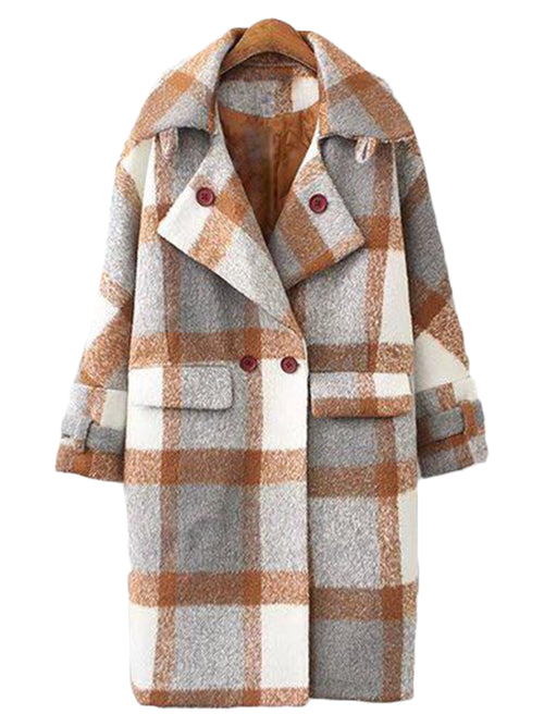 'Kai' Plaid Double-breasted Coat