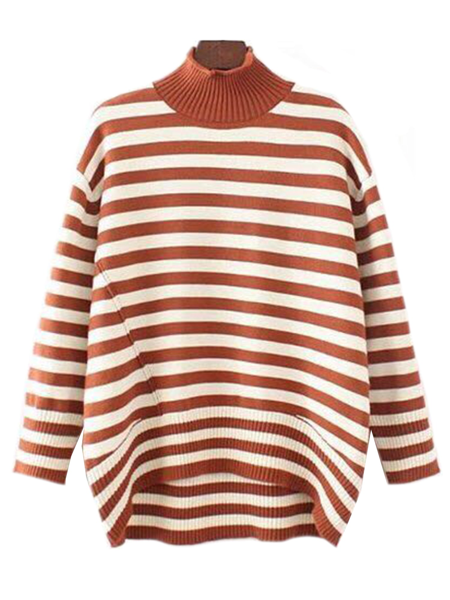 'Jennifer' High-neck Striped Sweater(3 Colors)