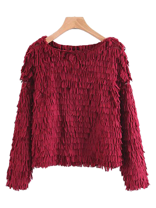 'Tenesha' Red Fringe Holiday Sweater