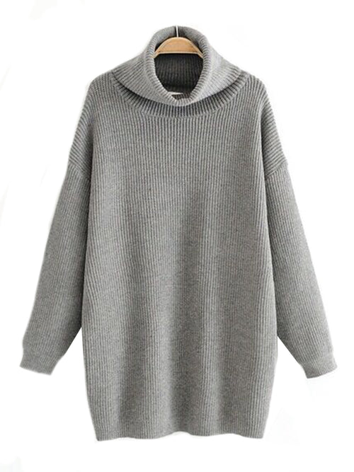 'Tonda' Turtleneck Knitted Long Sweater (2 Colors)