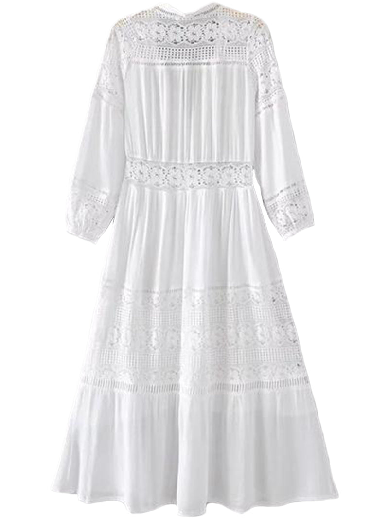 'Vinnie' Lace Pleated V-neck Maxi Dress