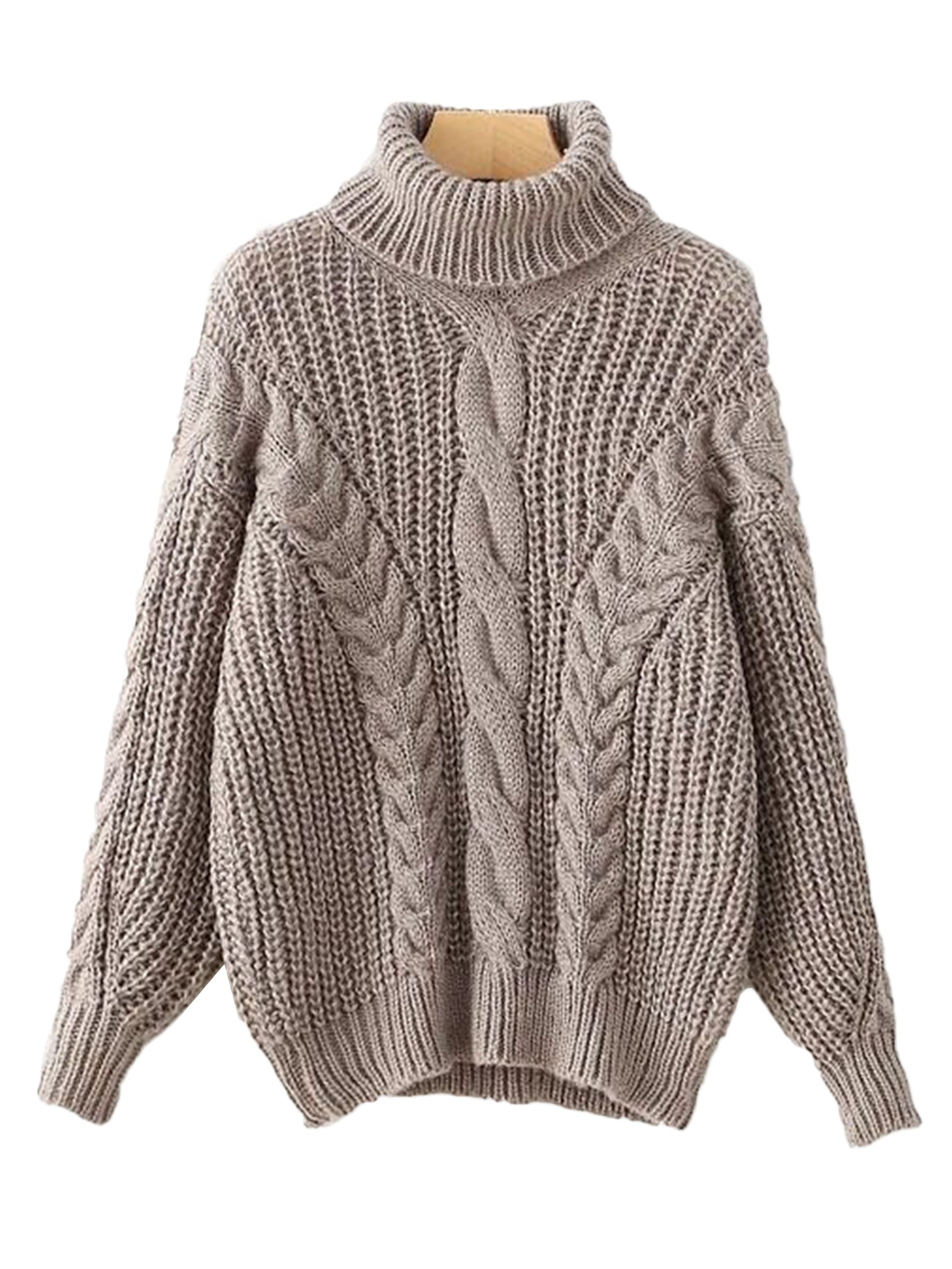 'Monique' Chunky Cable Knit Turtleneck Sweater (5 Colors)