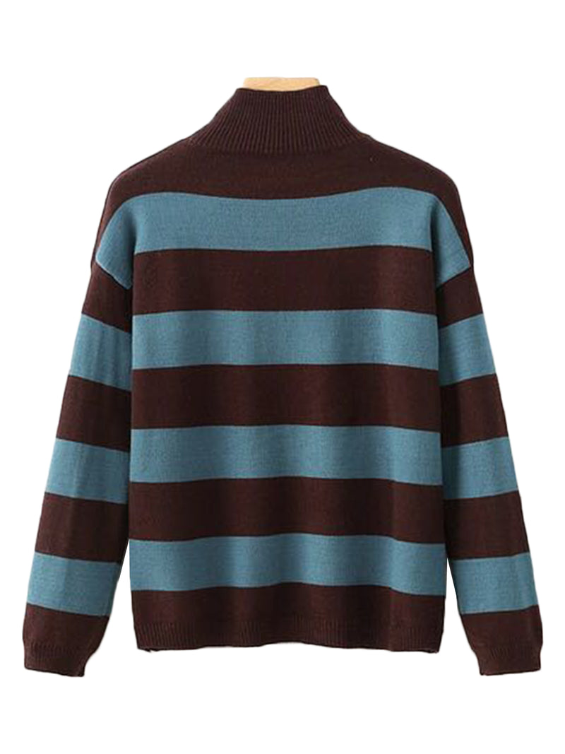 'Maxie' Striped High-neck Sweater (3 Colors)