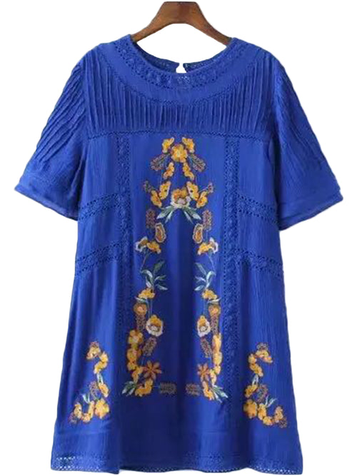 'Mary' Blue Embroidered Dress