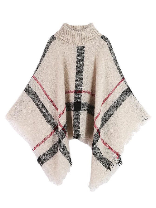 'Hayley' Plaid Turtleneck Cape Sweater ( 4 colors )