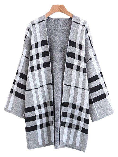 'Margaretta' Plaid Open Cardigan (2 Colors)