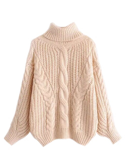 08113a94cd8  Maddie  Turtleneck Cable-knit Sweater by Champagne   Chanel ( 3 Colors )