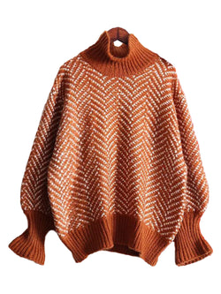 'Shasta' Chevron High-neck Sweater (4 Colors)