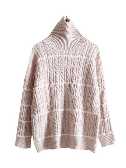 'Stephanie' High-neck Striped Sweater (3 Colors)