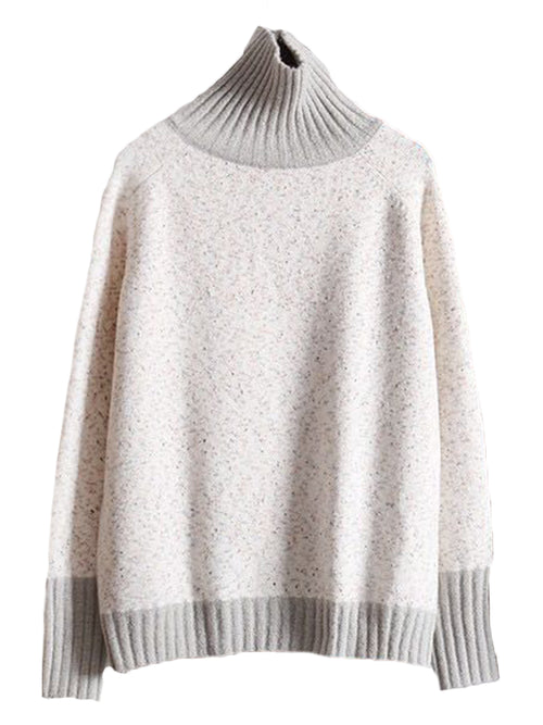 'Virgin' High-neck Two-tone Sweater (3 Colors)