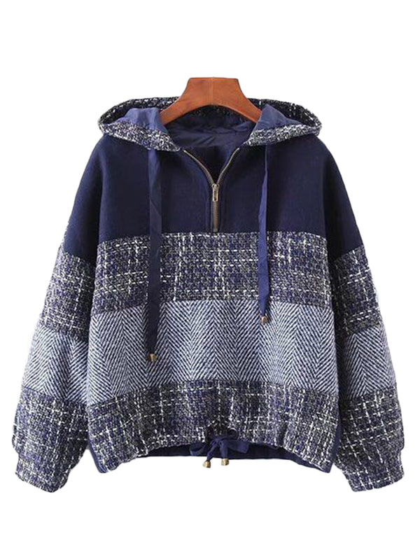 'Nanci' Color Block Tweed Hoodie