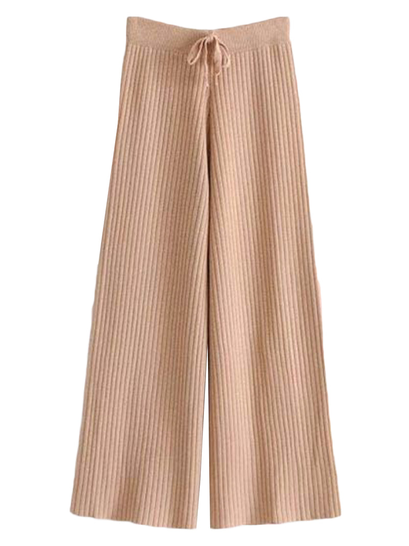 'Navine' Ribbed Wide Leg Pants