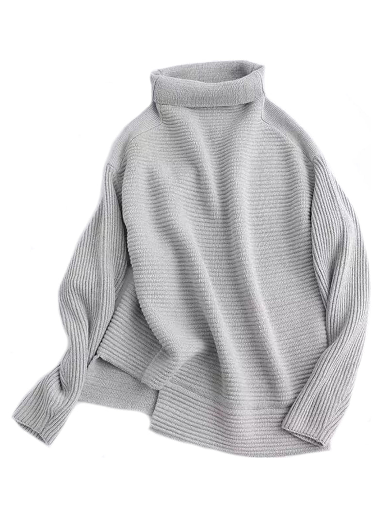 Goodnight Macaroon 'Susan' Ribbed Funnel Neck Asymmetric Hem Sweater Grey Back