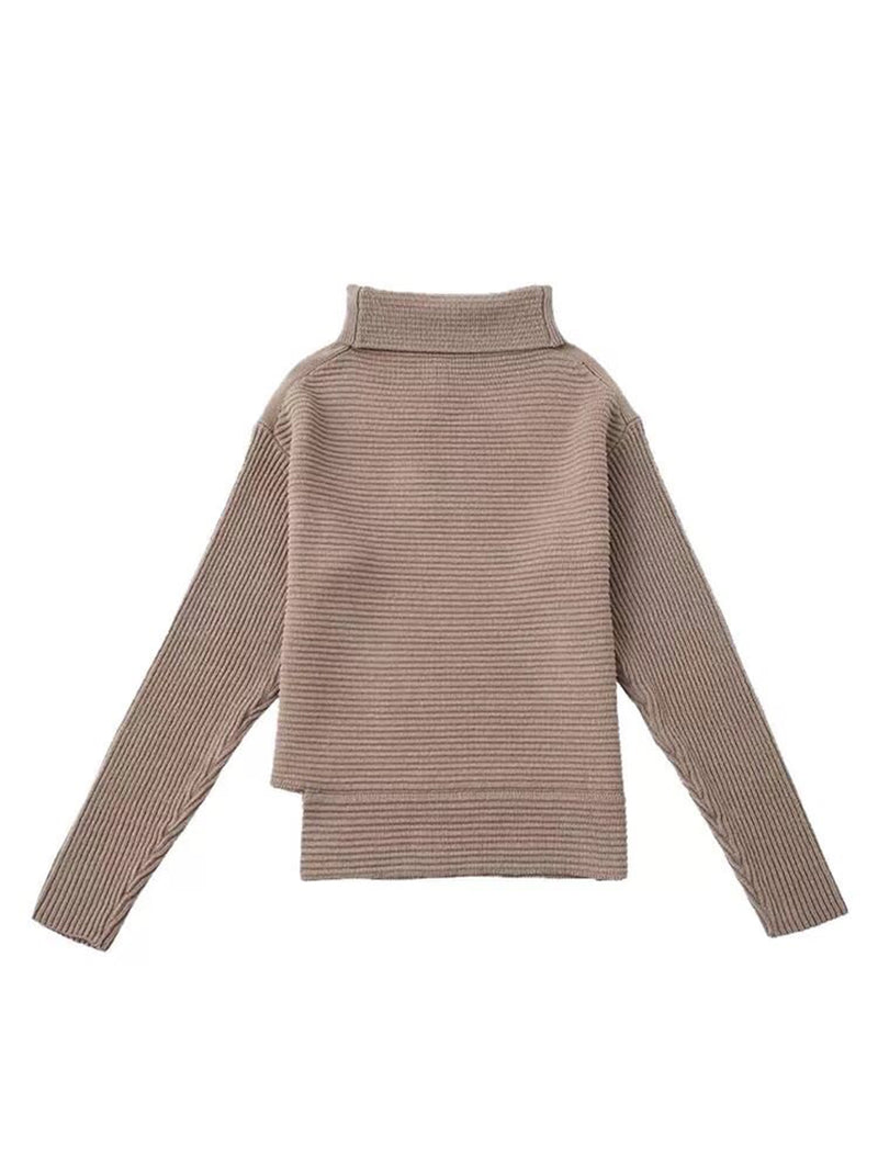 Goodnight Macaroon 'Susan' Ribbed Funnel Neck Asymmetric Hem Sweater Khaki Front