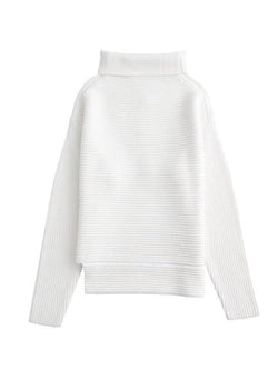 Goodnight Macaroon 'Susan' Ribbed Funnel Neck Asymmetric Hem Sweater White Front