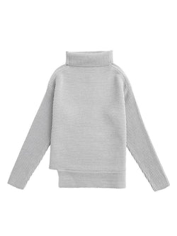 Goodnight Macaroon 'Susan' Ribbed Funnel Neck Asymmetric Hem Sweater Grey Front
