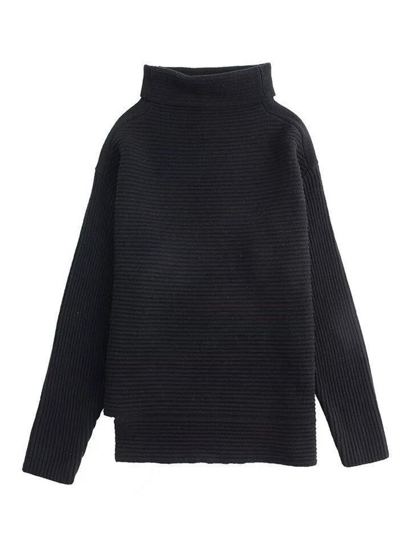 Goodnight Macaroon 'Susan' Ribbed Funnel Neck Asymmetric Hem Sweater Black Front