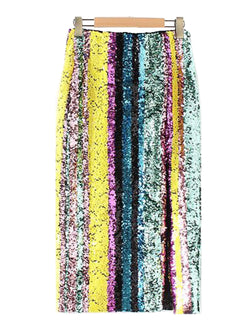 Goodnight Macaroon 'Charis' Multi Colored Sequin Midi Skirt Front