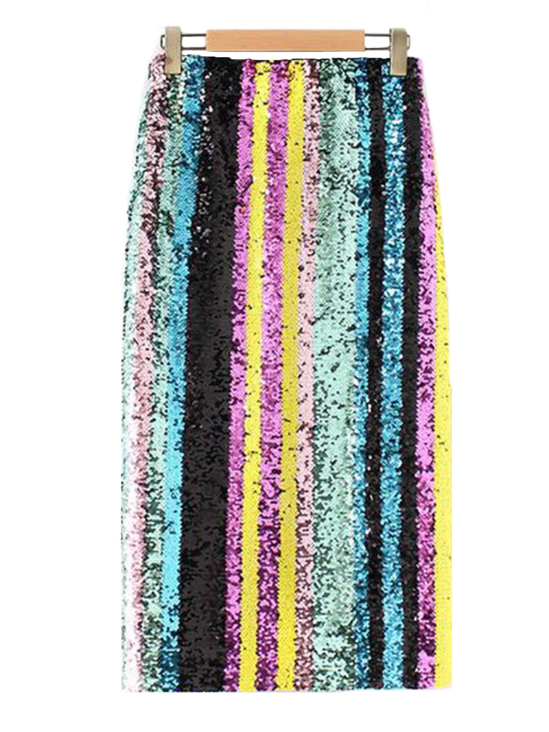 Goodnight Macaroon 'Charis' Multi Colored Sequin Midi Skirt Back