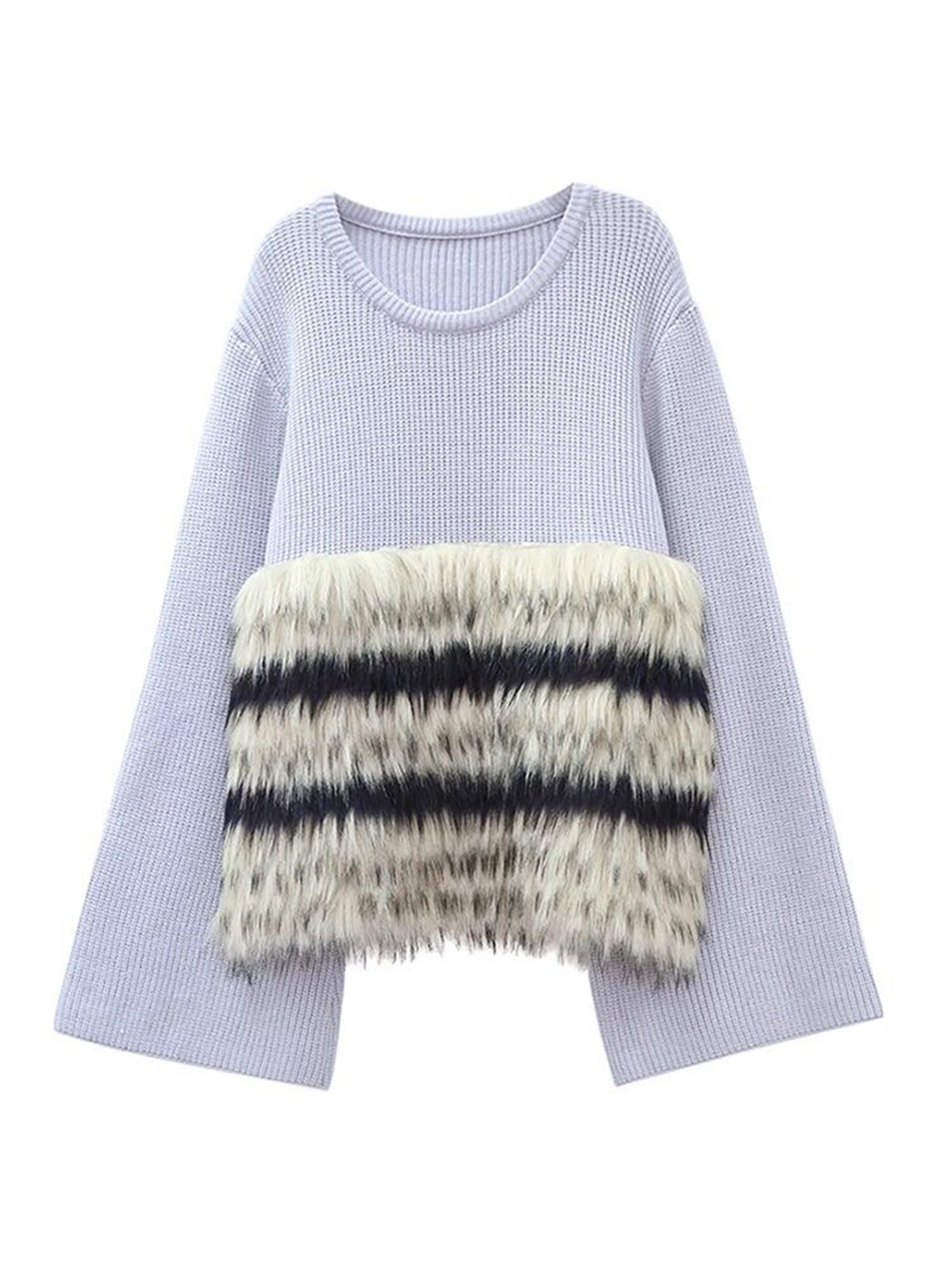 'Paris' Fluted Sleeve Fur Sweater (2 Colors)