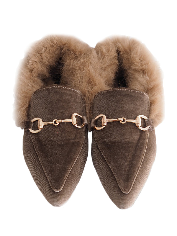 'Megan' Point Toe Fur Flats (2 Colors)