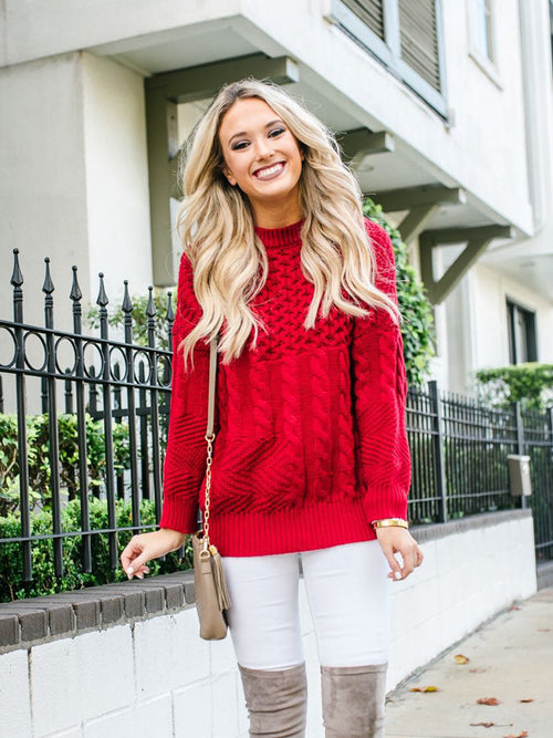 'Chloe' Red Mix-knitted Sweater by Champagne and Chanel