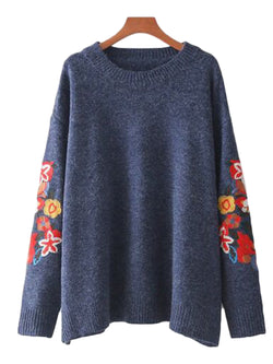 'Ruby' Embroidered Sleeve Sweater