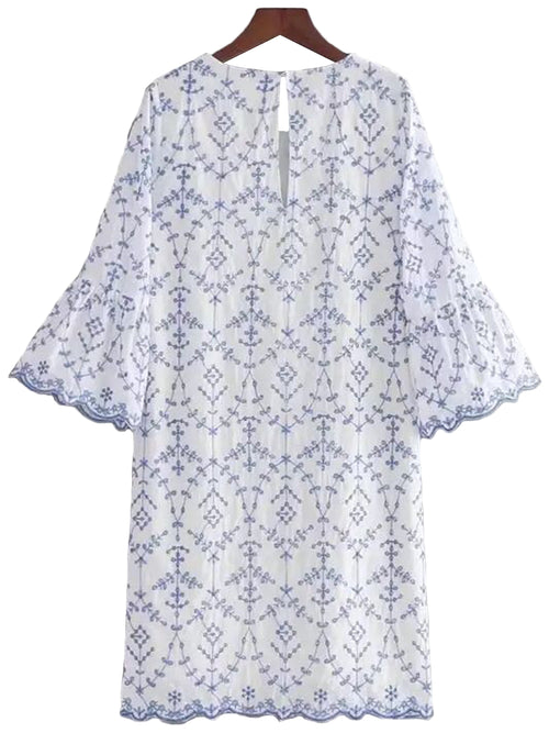 'Zana' Blue Eyelet Lace Scallop Hem Embroidered Dress