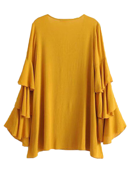 'Maryanna' Mustard Ruffled Sleeve Top