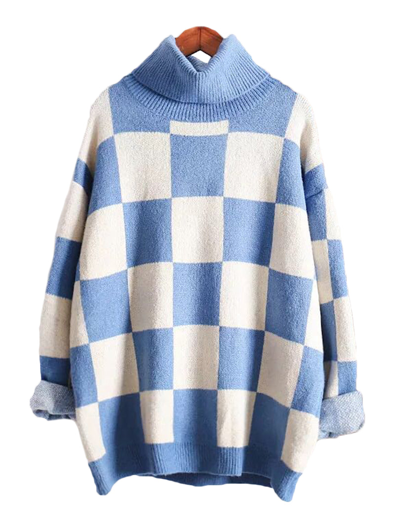 'Ruth' High-neck Gingham Sweater (2 Colors)