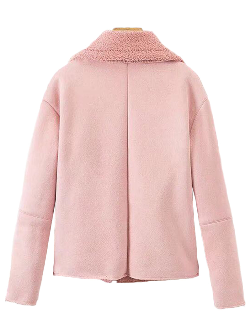 'Trinny' Pink Fleece Biker Jacket