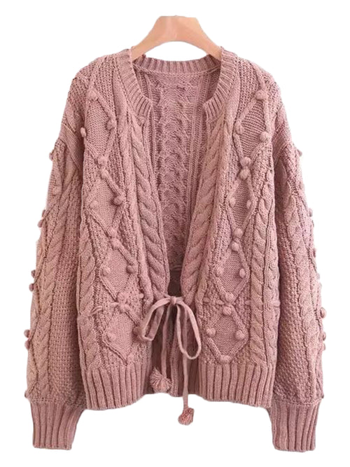 'Rosina' Pom Pom Crochet Knitted Cardigan (2 Colors)