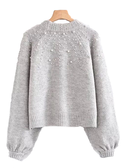 'Silvana' Pearl Studs Sweater (2 Colors)