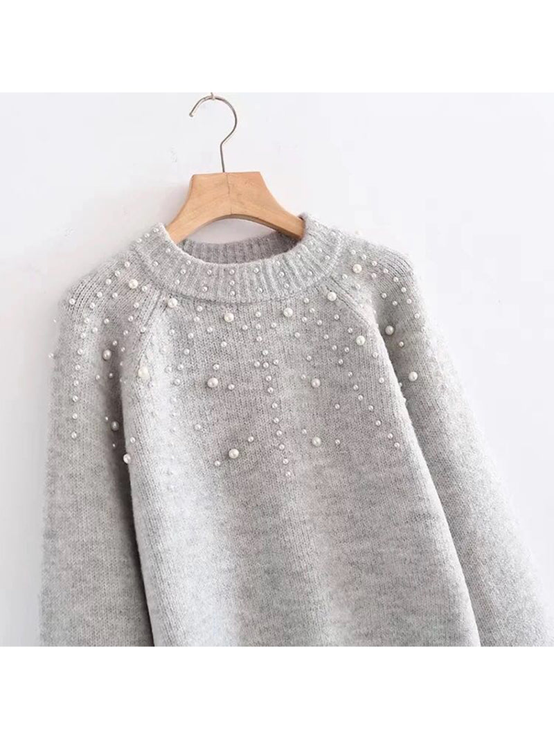 'Silvana' Pearl Studded Light Grey Sweater