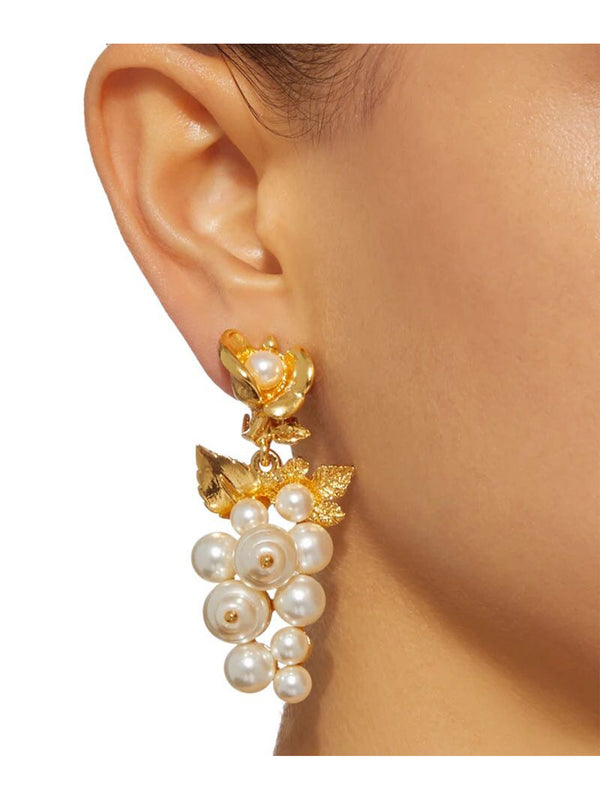 'Maple' Rose Pearl Drop Earrings
