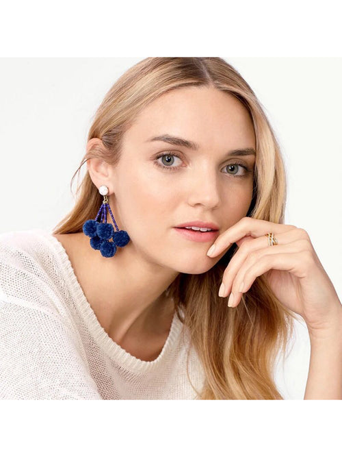 'Sheryl' Marble Pom Pom Drop Statement Earrings