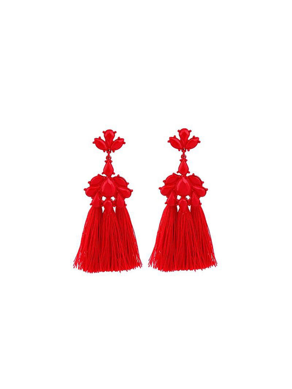 'Kitty' Red Drop Tassel Earrings
