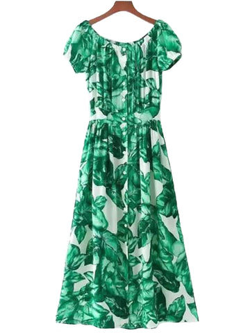 'Crystal' Palm Print High Neck Flare Dress
