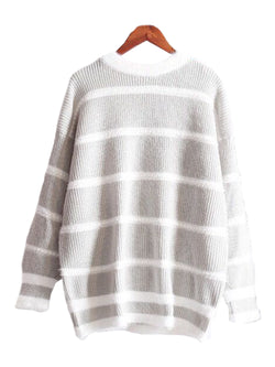 'Dulcia' Striped Grey Sweater ( Soft & Fuzzy! )