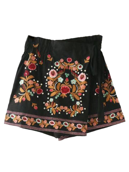 'Sonya' Wrap Embroidered Skort