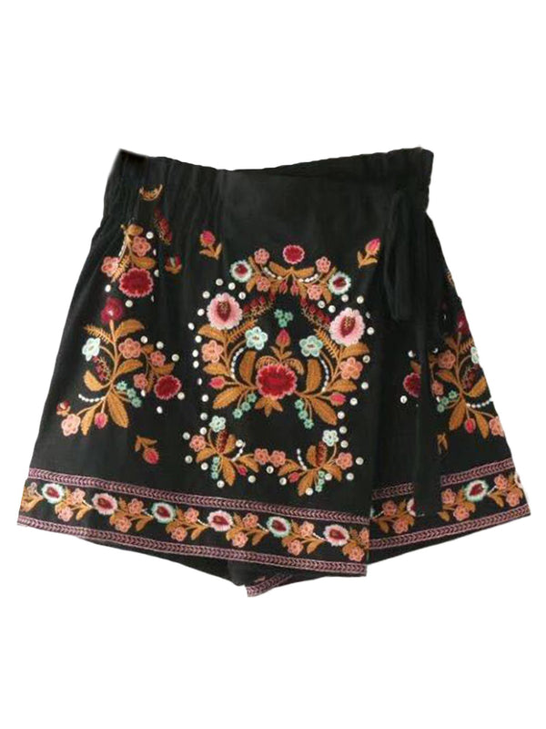 'Sonya' Wrap Embroidered Skirt