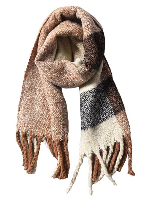 'Mariette' Neutral Plaid Tassel Scarf