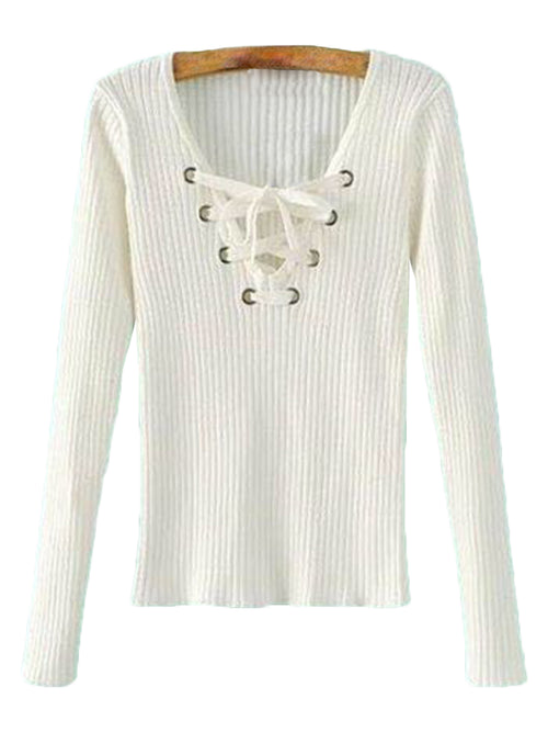 'Stephie' Lace-up Sweater